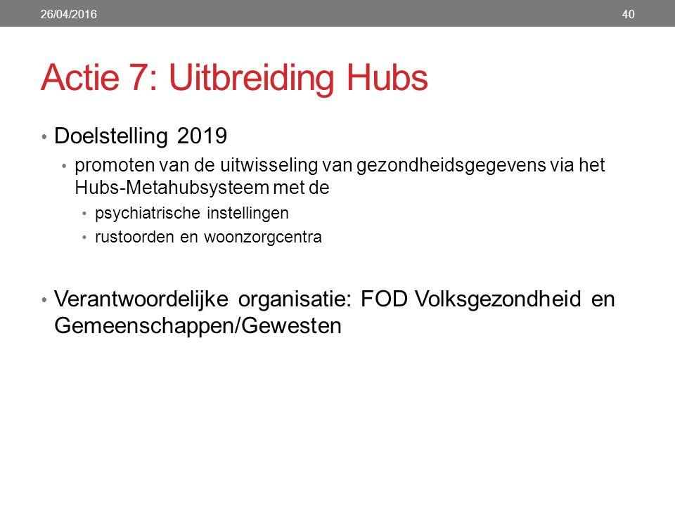 Actie 7: Uitbreiding Hubs Doelstelling 2019 promoten van de uitwisseling van gezondheidsgegevens via het Hubs-Metahubsysteem met de psychiatrische instellingen rustoorden en woonzorgcentra Verantwoordelijke organisatie: FOD Volksgezondheid en Gemeenschappen/Gewesten 26/04/201640