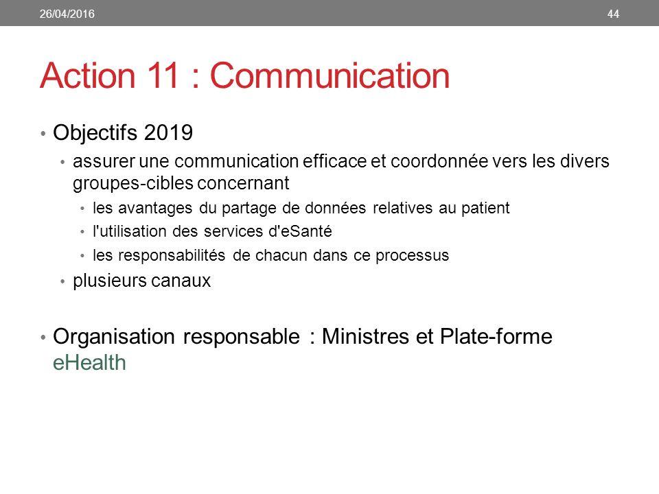 Action 11 : Communication Objectifs 2019 assurer une communication efficace et coordonnée vers les divers groupes-cibles concernant les avantages du partage de données relatives au patient l utilisation des services d eSanté les responsabilités de chacun dans ce processus plusieurs canaux Organisation responsable : Ministres et Plate-forme eHealth 4426/04/2016