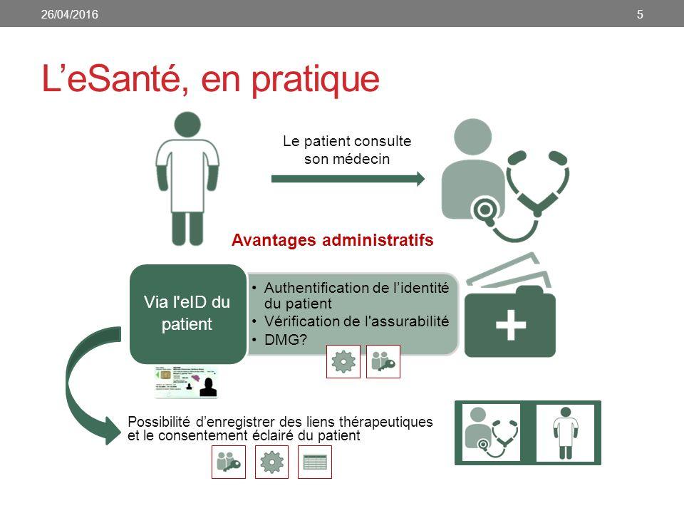 Le patient consulte son médecin Avantages administratifs Possibilité d'enregistrer des liens thérapeutiques et le consentement éclairé du patient L'eSanté, en pratique 526/04/2016