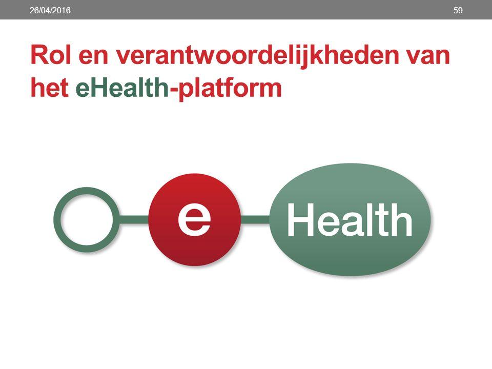Rol en verantwoordelijkheden van het eHealth-platform 26/04/201659