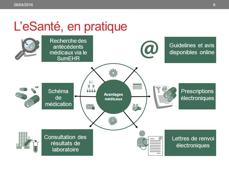 Avantages médicaux L'eSanté, en pratique Consultation des résultats de laboratoire Recherche des antécédents médicaux via le SumEHR Schéma de médicati