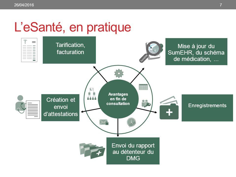 Plan d action eSanté 2015-2019 Fin 2012 : organisation d'une table ronde sur les priorités en matière d informatisation du secteur des soins de santé Participation de près de 300 personnes du secteur Résultat : Roadmap e-Santé avec des objectifs concrets pour les 5 années à venir 2015 : actualisation de la Roadmap eSanté: Roadmap 2.0 826/04/2016