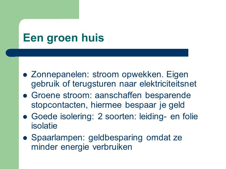 Een groen huis Zonnepanelen: stroom opwekken.