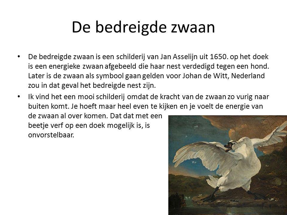 De bedreigde zwaan De bedreigde zwaan is een schilderij van Jan Asselijn uit 1650.