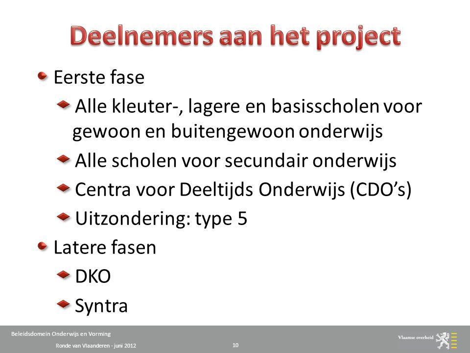 Ronde van Vlaanderen - juni 2012 Beleidsdomein Onderwijs en Vorming Eerste fase Alle kleuter-, lagere en basisscholen voor gewoon en buitengewoon onderwijs Alle scholen voor secundair onderwijs Centra voor Deeltijds Onderwijs (CDO's) Uitzondering: type 5 Latere fasen DKO Syntra 10