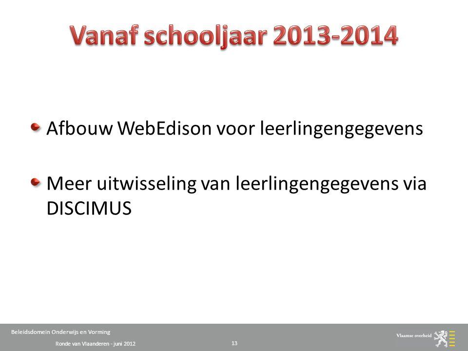 Ronde van Vlaanderen - juni 2012 Beleidsdomein Onderwijs en Vorming Afbouw WebEdison voor leerlingengegevens Meer uitwisseling van leerlingengegevens via DISCIMUS 13