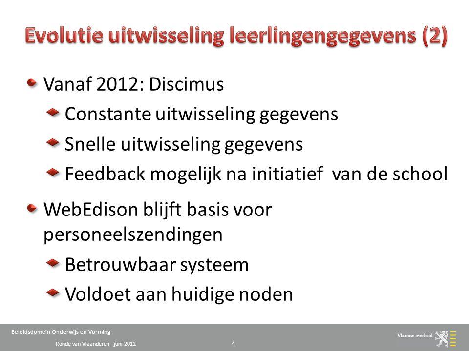 Ronde van Vlaanderen - juni 2012 Beleidsdomein Onderwijs en Vorming AgODi Mainframe 5 interne t Instellingen (Directeur, medewerker, …) 1 2 3 4 5 6 7 School