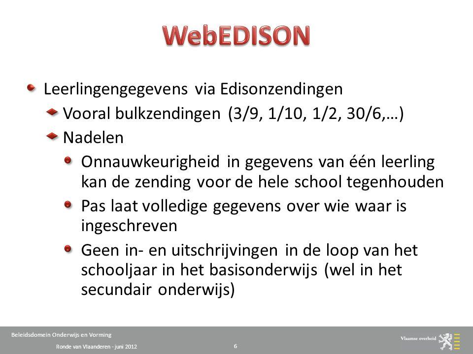 Ronde van Vlaanderen - juni 2012 Beleidsdomein Onderwijs en Vorming Leerlingengegevens via Edisonzendingen Vooral bulkzendingen (3/9, 1/10, 1/2, 30/6,…) Nadelen Onnauwkeurigheid in gegevens van één leerling kan de zending voor de hele school tegenhouden Pas laat volledige gegevens over wie waar is ingeschreven Geen in- en uitschrijvingen in de loop van het schooljaar in het basisonderwijs (wel in het secundair onderwijs) 6