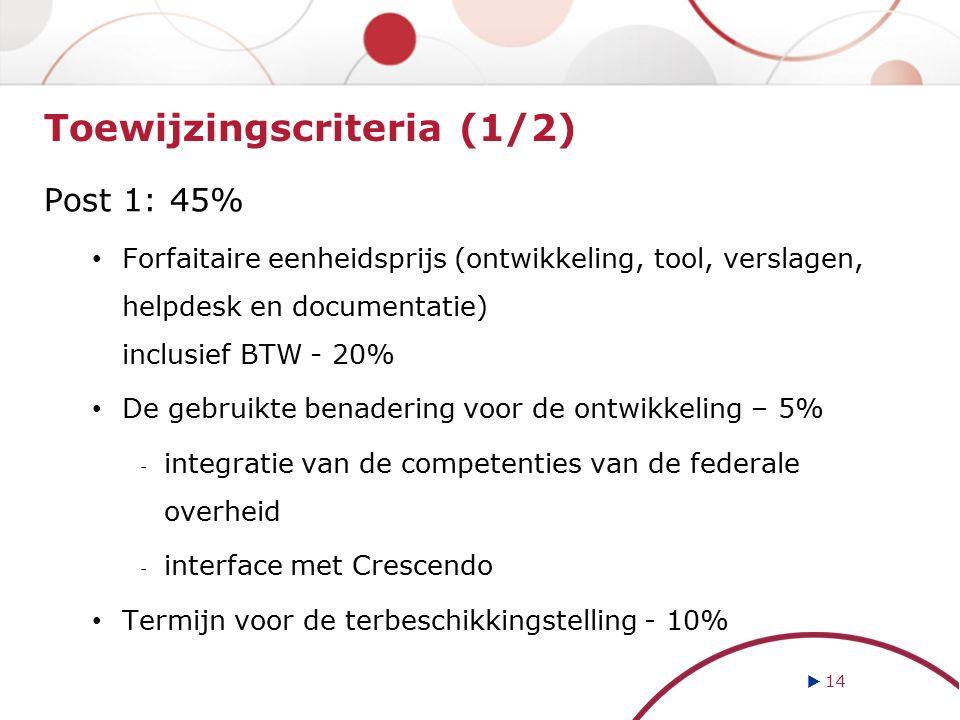 Toewijzingscriteria (1/2) Post 1: 45% Forfaitaire eenheidsprijs (ontwikkeling, tool, verslagen, helpdesk en documentatie) inclusief BTW - 20% De gebru