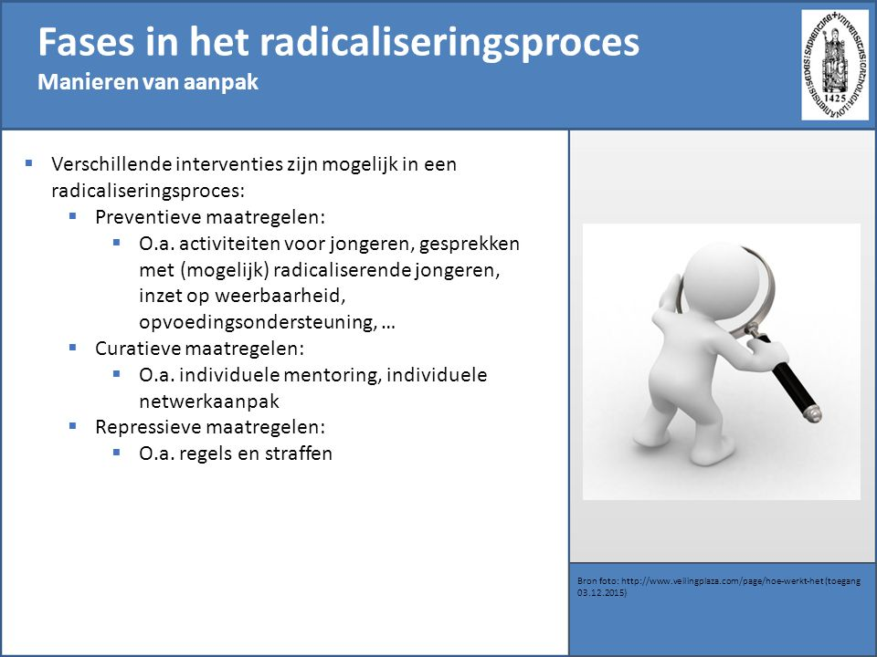Fases in het radicaliseringsproces Manieren van aanpak Bron foto: http://www.veilingplaza.com/page/hoe-werkt-het (toegang 03.12.2015)  Verschillende interventies zijn mogelijk in een radicaliseringsproces:  Preventieve maatregelen:  O.a.