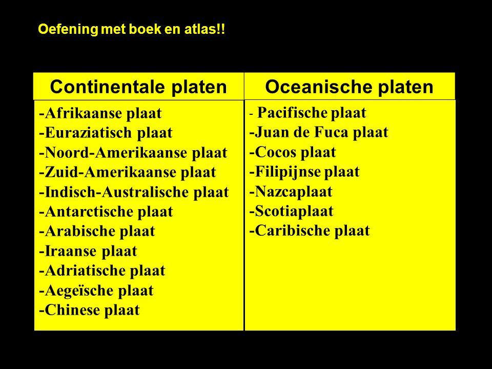 Continentale platenOceanische platen -Afrikaanse plaat -Euraziatisch plaat -Noord-Amerikaanse plaat -Zuid-Amerikaanse plaat -Indisch-Australische plaa