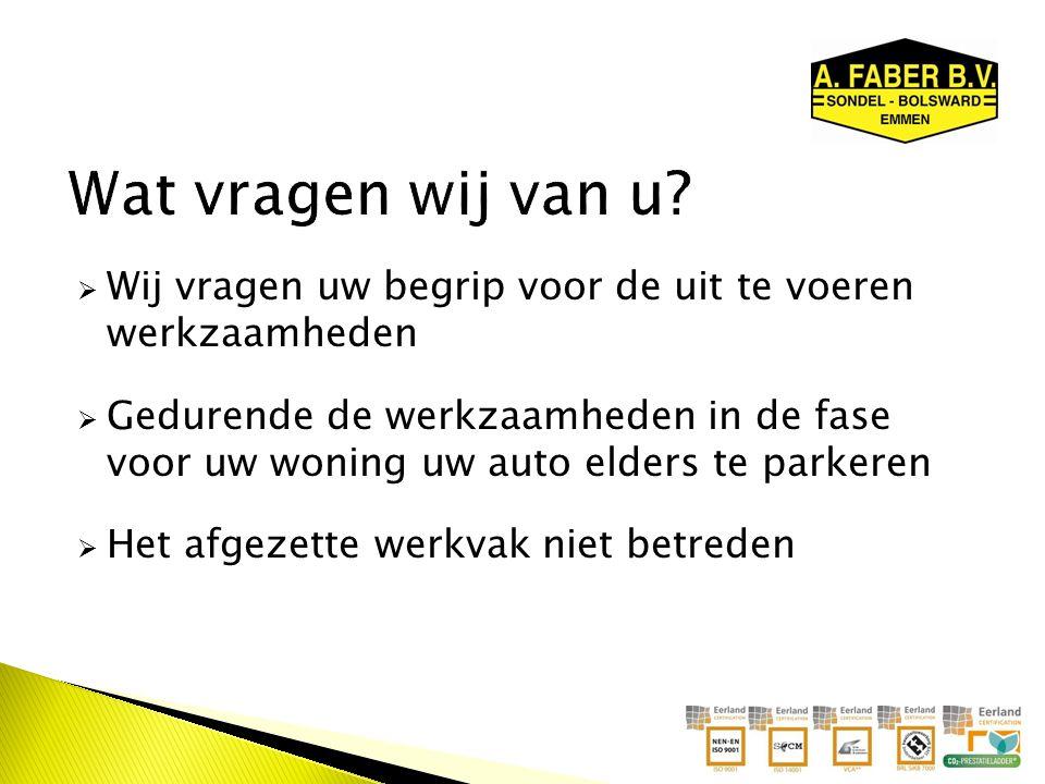  Wij vragen uw begrip voor de uit te voeren werkzaamheden  Gedurende de werkzaamheden in de fase voor uw woning uw auto elders te parkeren  Het afgezette werkvak niet betreden