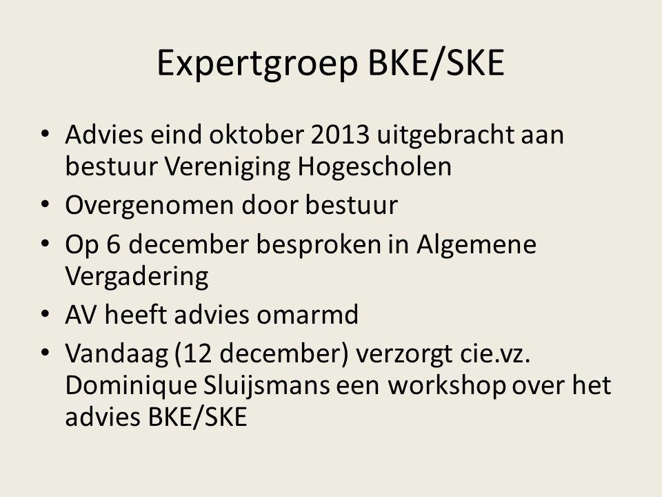 Expertgroep BKE/SKE Advies eind oktober 2013 uitgebracht aan bestuur Vereniging Hogescholen Overgenomen door bestuur Op 6 december besproken in Algemene Vergadering AV heeft advies omarmd Vandaag (12 december) verzorgt cie.vz.