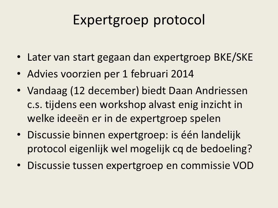 Expertgroep protocol Later van start gegaan dan expertgroep BKE/SKE Advies voorzien per 1 februari 2014 Vandaag (12 december) biedt Daan Andriessen c.s.