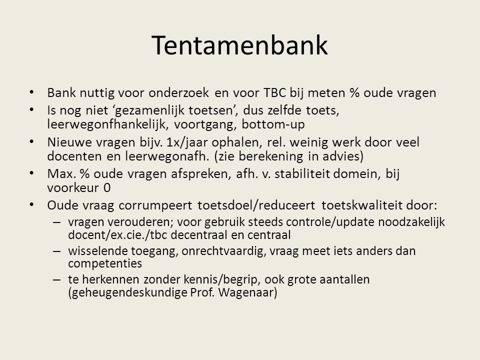 Tentamenbank Bank nuttig voor onderzoek en voor TBC bij meten % oude vragen Is nog niet 'gezamenlijk toetsen', dus zelfde toets, leerwegonfhankelijk, voortgang, bottom-up Nieuwe vragen bijv.