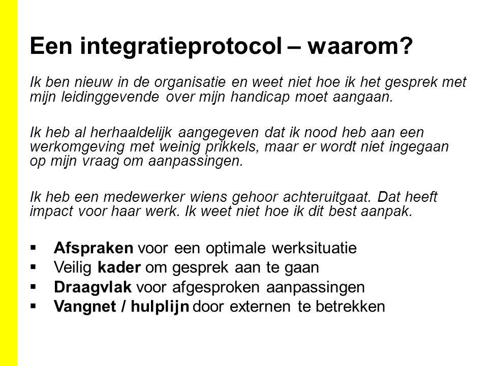 Een integratieprotocol – waarom? Ik ben nieuw in de organisatie en weet niet hoe ik het gesprek met mijn leidinggevende over mijn handicap moet aangaa