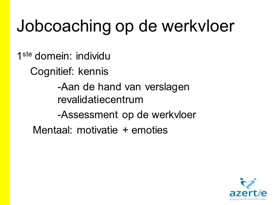 Jobcoaching op de werkvloer 1 ste domein: individu Cognitief: kennis -Aan de hand van verslagen revalidatiecentrum -Assessment op de werkvloer Mentaal: motivatie + emoties