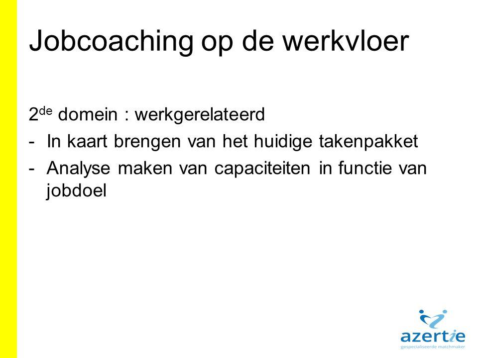 Jobcoaching op de werkvloer 2 de domein : werkgerelateerd -In kaart brengen van het huidige takenpakket -Analyse maken van capaciteiten in functie van jobdoel