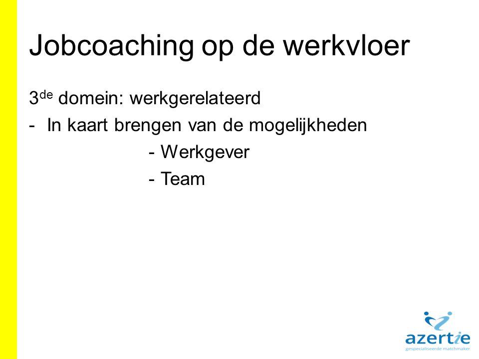 Jobcoaching op de werkvloer 3 de domein: werkgerelateerd -In kaart brengen van de mogelijkheden -Werkgever -Team