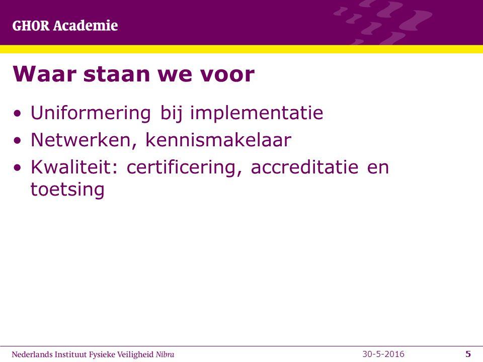 5 Waar staan we voor Uniformering bij implementatie Netwerken, kennismakelaar Kwaliteit: certificering, accreditatie en toetsing 530-5-2016