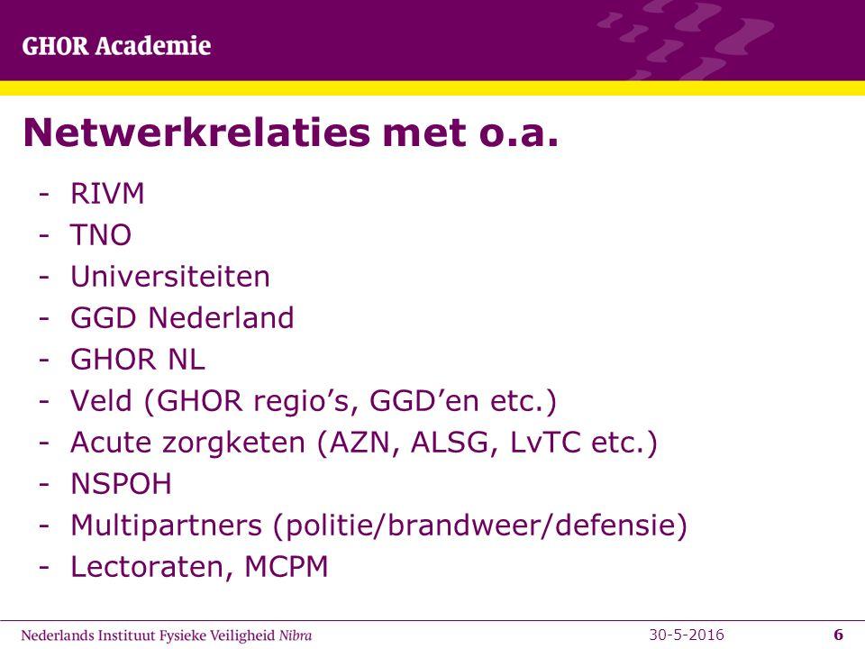 6 Netwerkrelaties met o.a. -RIVM -TNO -Universiteiten -GGD Nederland -GHOR NL -Veld (GHOR regio's, GGD'en etc.) -Acute zorgketen (AZN, ALSG, LvTC etc.