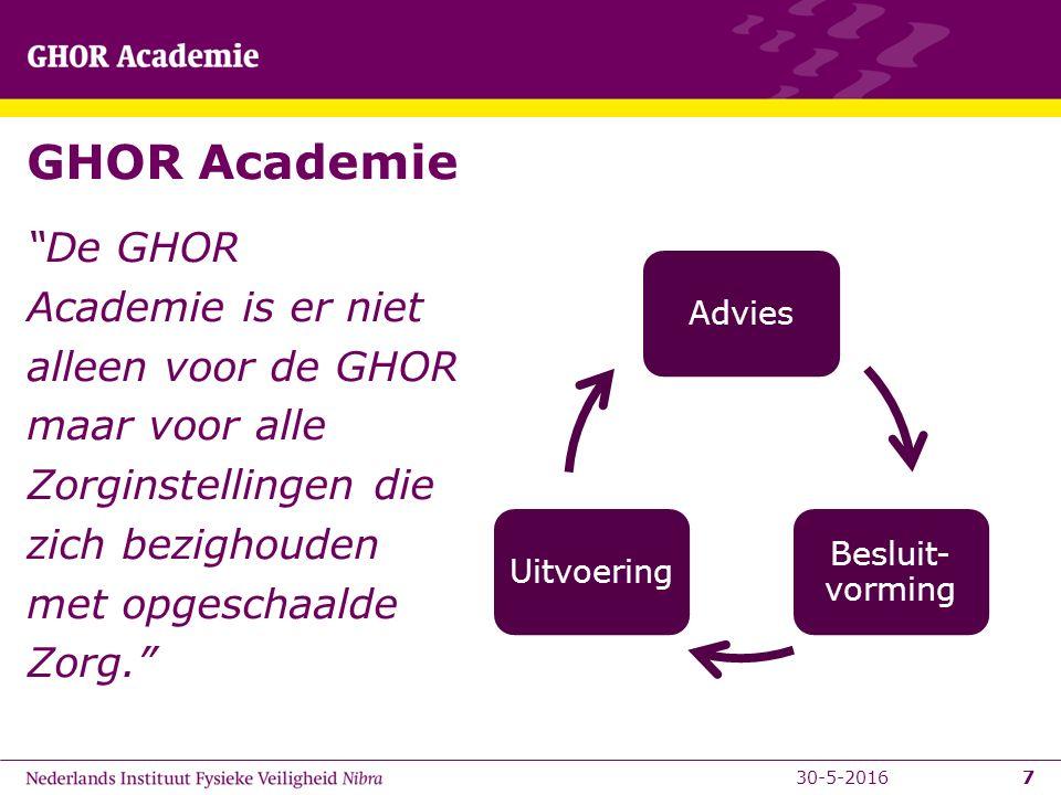 7 GHOR Academie De GHOR Academie is er niet alleen voor de GHOR maar voor alle Zorginstellingen die zich bezighouden met opgeschaalde Zorg. 730-5-2016 Advies Besluit- vorming Uitvoering
