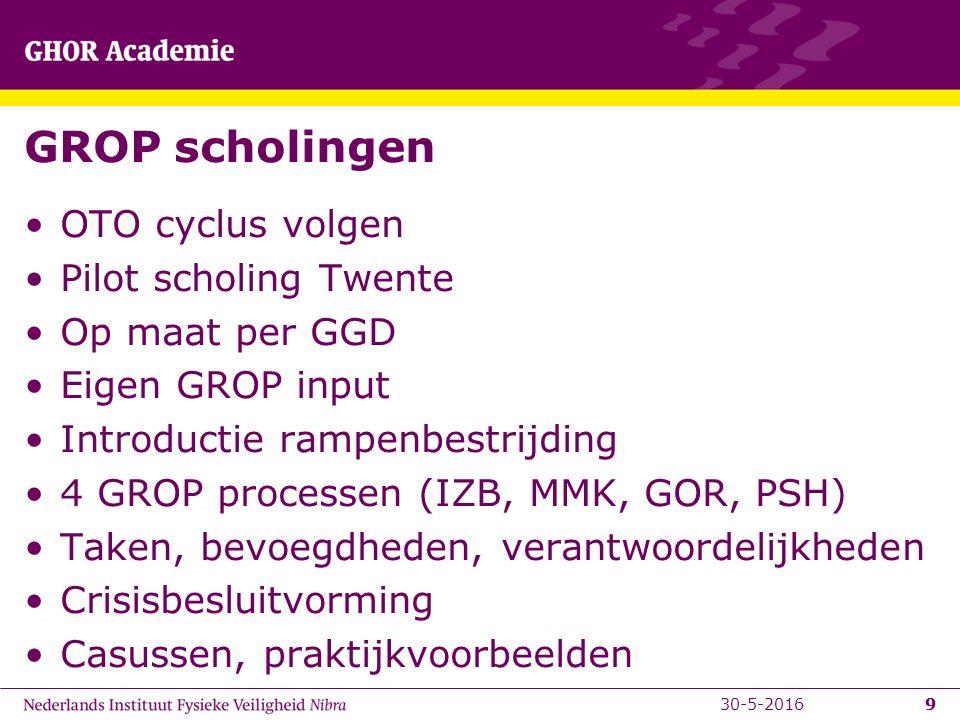 9 GROP scholingen OTO cyclus volgen Pilot scholing Twente Op maat per GGD Eigen GROP input Introductie rampenbestrijding 4 GROP processen (IZB, MMK, GOR, PSH) Taken, bevoegdheden, verantwoordelijkheden Crisisbesluitvorming Casussen, praktijkvoorbeelden 930-5-2016