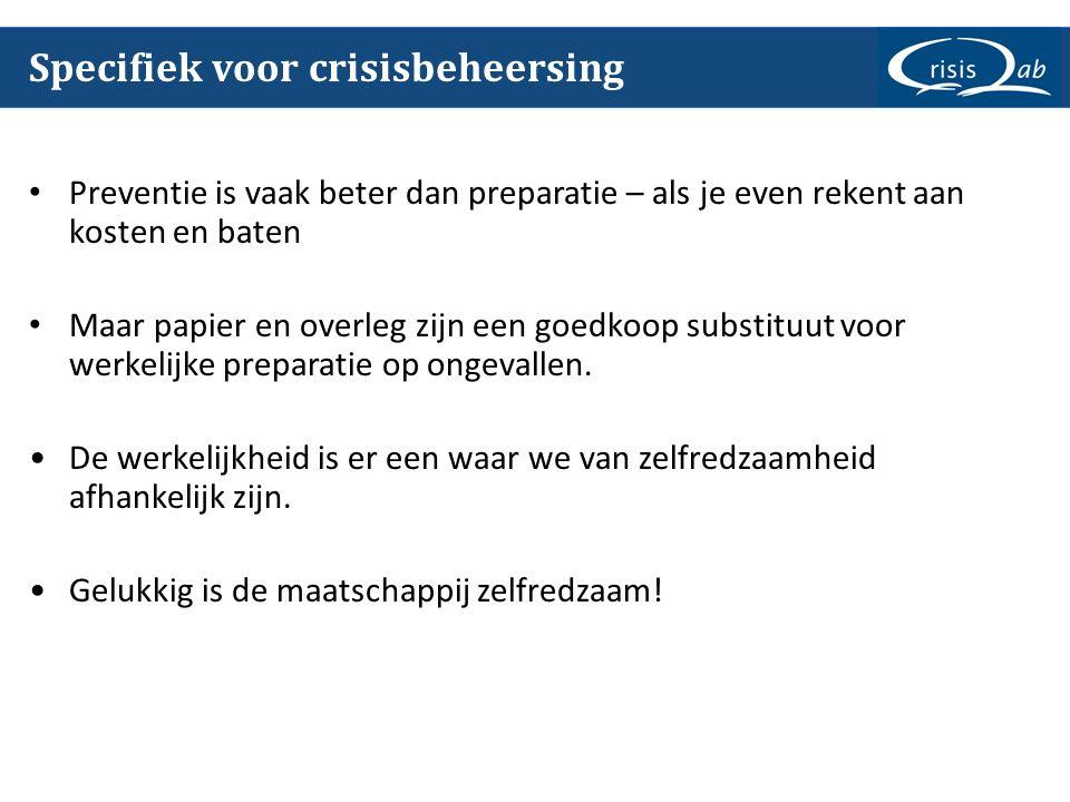 Specifiek voor crisisbeheersing Preventie is vaak beter dan preparatie – als je even rekent aan kosten en baten Maar papier en overleg zijn een goedko