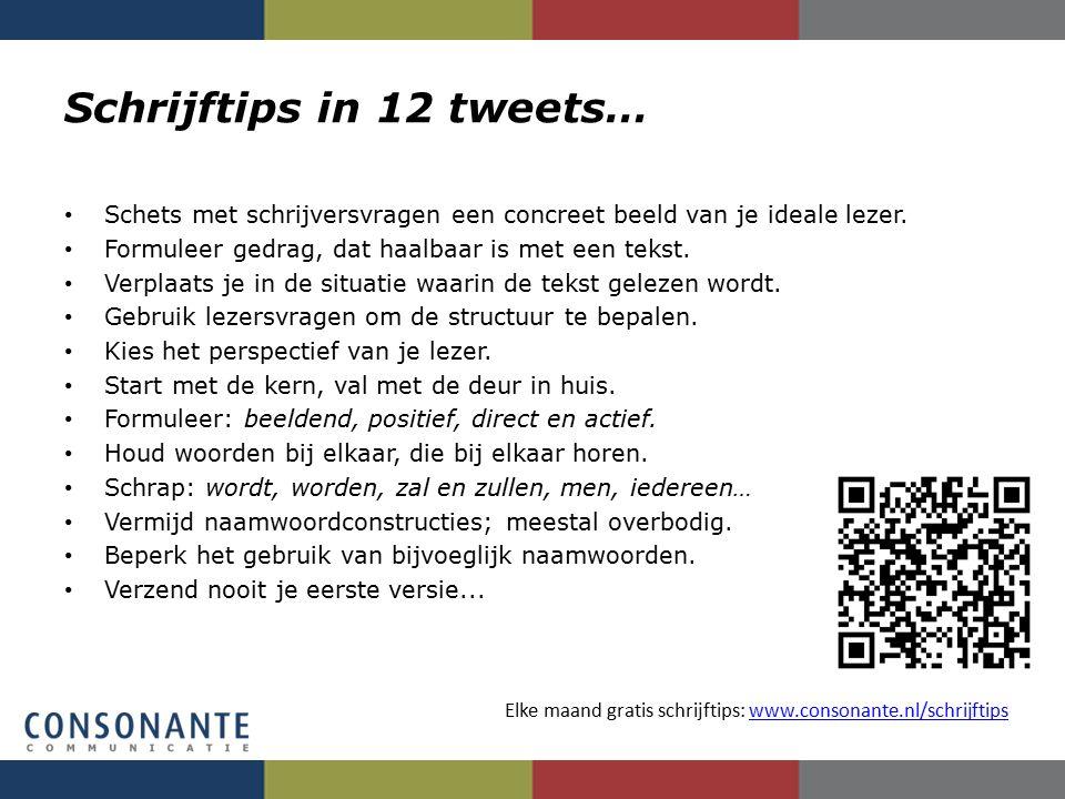 Schrijftips in 12 tweets… Schets met schrijversvragen een concreet beeld van je ideale lezer. Formuleer gedrag, dat haalbaar is met een tekst. Verplaa