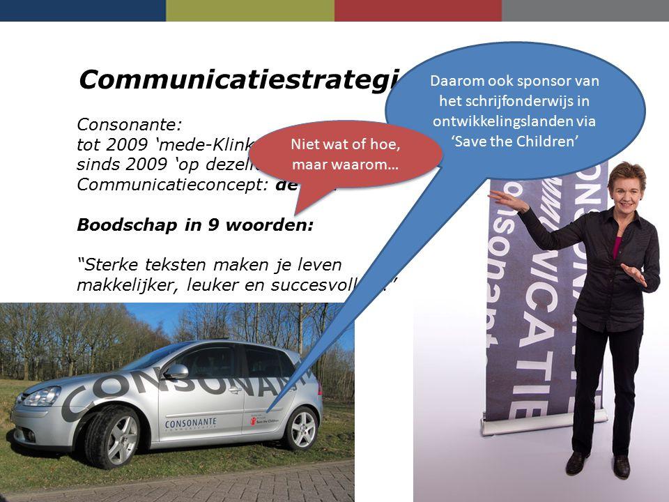 Communicatiestrategie Consonante Consonante: tot 2009 'mede-Klinker' sinds 2009 'op dezelfde golflengte' Communicatieconcept: de golf Boodschap in 9 w