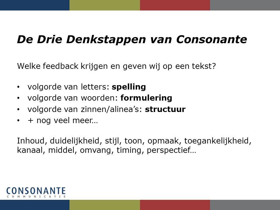 De Drie Denkstappen van Consonante Welke feedback krijgen en geven wij op een tekst? volgorde van letters: spelling volgorde van woorden: formulering