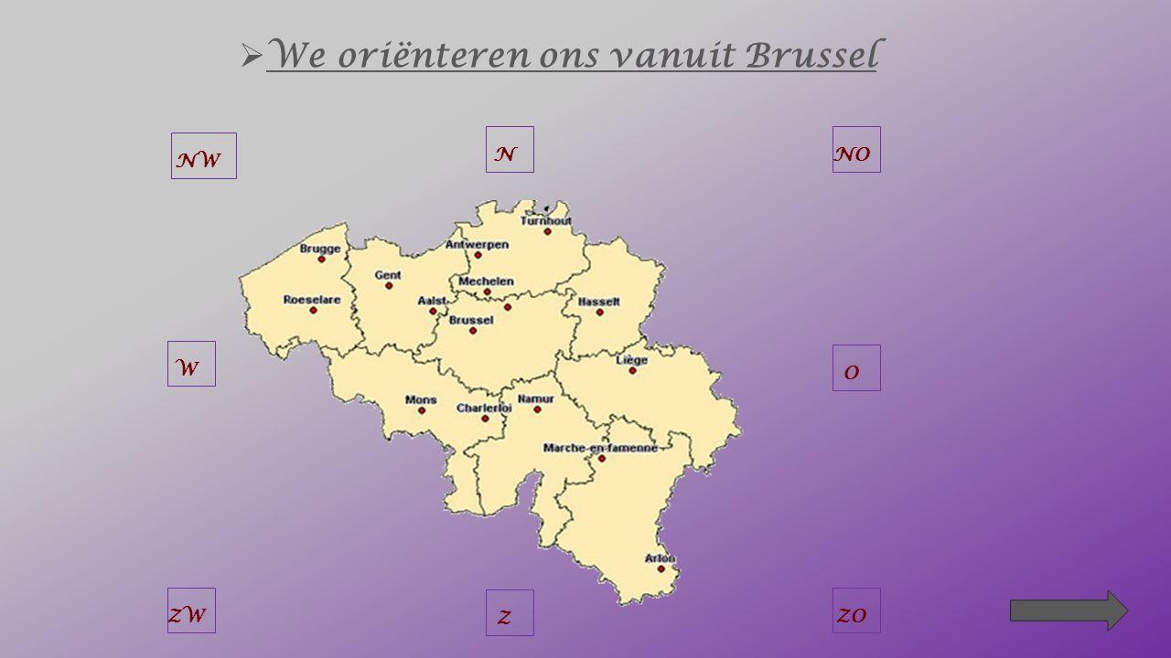 Als je vertrekt vanuit Brussel en je moet… naar Roeselare, dan rijd je naar het _____ _______ NW W NZW NOO NWZ W ZO