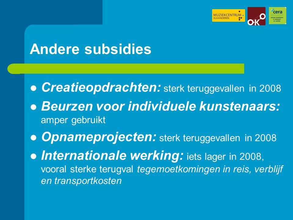 Tewerkstelling Naast 'eigen personeel' ook vaak op zelfstandige basis, kleine vergoedingsregel of via interim/SBK Totaal uitbetaald loon: 14.000.000 euro (n = 70) 'Andere' vergoedingen: 13.000.000 euro (n = 70) 86% van deze 'andere' vergoedingen gaat naar artistiek personeel Totale vergoedingen: 60% naar artistiek personeel (uitkoopsommen inbegrepen)