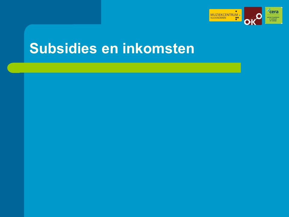 Vergoedingen en structurele subsidies (1) verhouding alle vergoedingen tov structurele subsidies (2) verhouding vergoedingen aan artistiek personeel tov structurele subsidies: (1)(2) Muziekclubs2,781,71 Festivals2,321,54 Concertorganisaties1,820,89 Ensembles 1,280,93 Totaal1,741,09