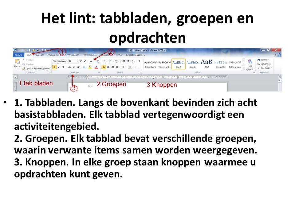 Het lint: tabbladen, groepen en opdrachten 1.Tabbladen.