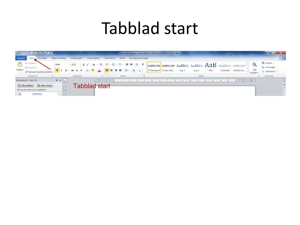 Tabblad start