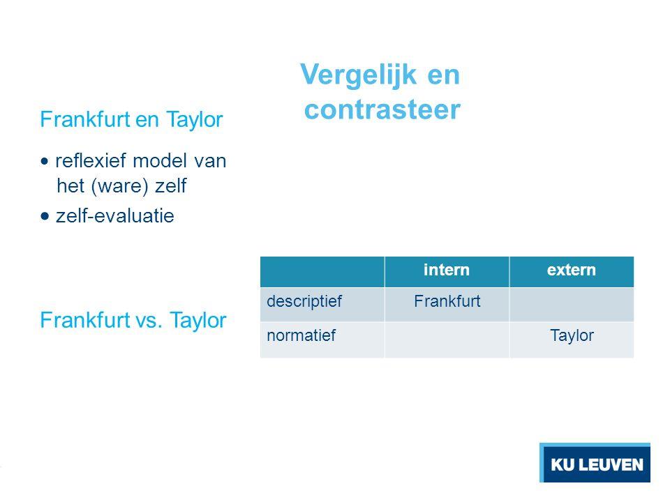 Vergelijk en contrasteer internextern descriptiefFrankfurt normatiefTaylor Frankfurt en Taylor  reflexief model van het (ware) zelf  zelf-evaluatie Frankfurt vs.