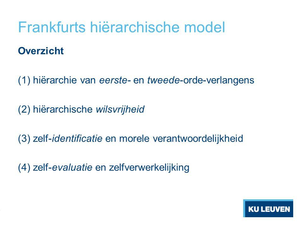 Frankfurts hiërarchische model Overzicht (1) hiërarchie van eerste- en tweede-orde-verlangens (2) hiërarchische wilsvrijheid (3) zelf-identificatie en morele verantwoordelijkheid (4) zelf-evaluatie en zelfverwerkelijking