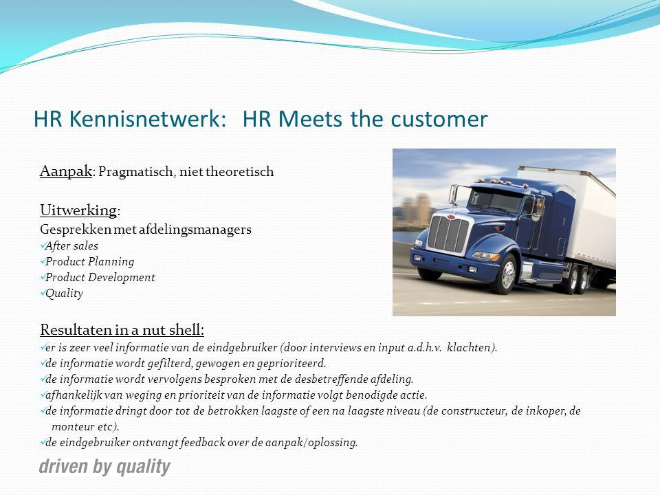 HR Kennisnetwerk: HR Meets the customer Aanpak : Pragmatisch, niet theoretisch Uitwerking : Gesprekken met afdelingsmanagers After sales Product Plann