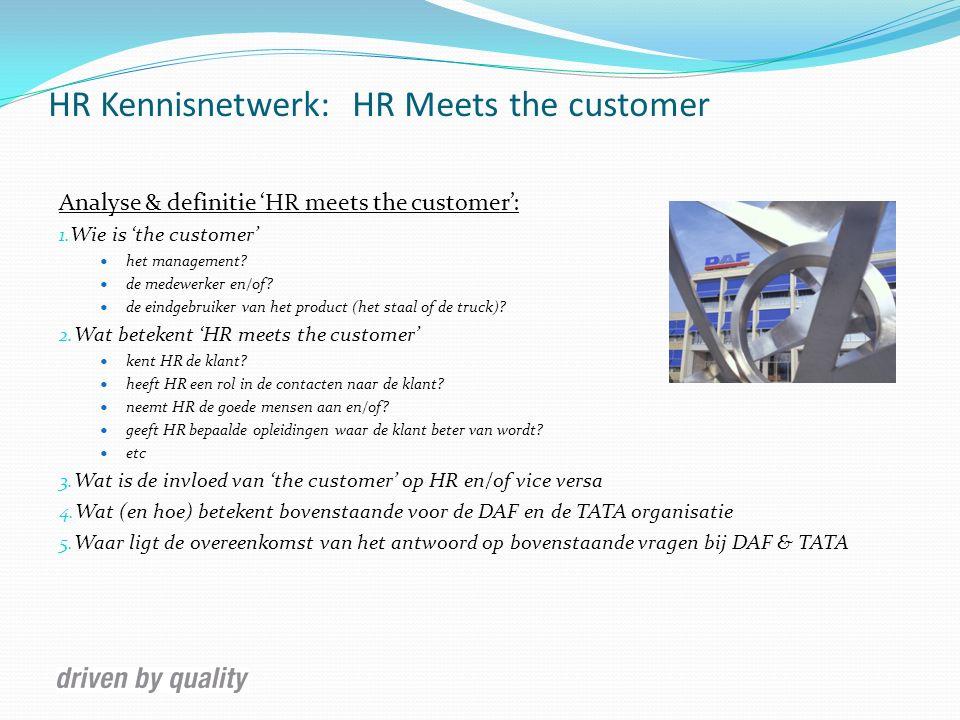 HR Kennisnetwerk: HR Meets the customer Conclusies: 1.