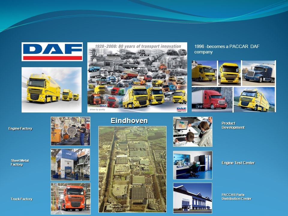 1996 -becomes a PACCAR DAF company Engine Factory Sheet Metal Factory Truck Factory Product Development Engine Test Center PACCAR Parts Distribution C