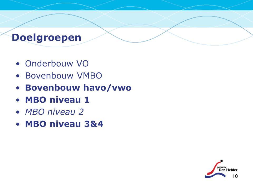 10 Doelgroepen Onderbouw VO Bovenbouw VMBO Bovenbouw havo/vwo MBO niveau 1 MBO niveau 2 MBO niveau 3&4