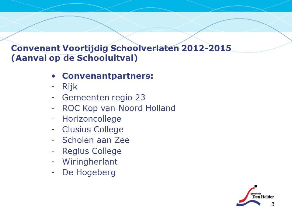 3 Convenant Voortijdig Schoolverlaten 2012-2015 (Aanval op de Schooluitval) Convenantpartners: -Rijk -Gemeenten regio 23 -ROC Kop van Noord Holland -H