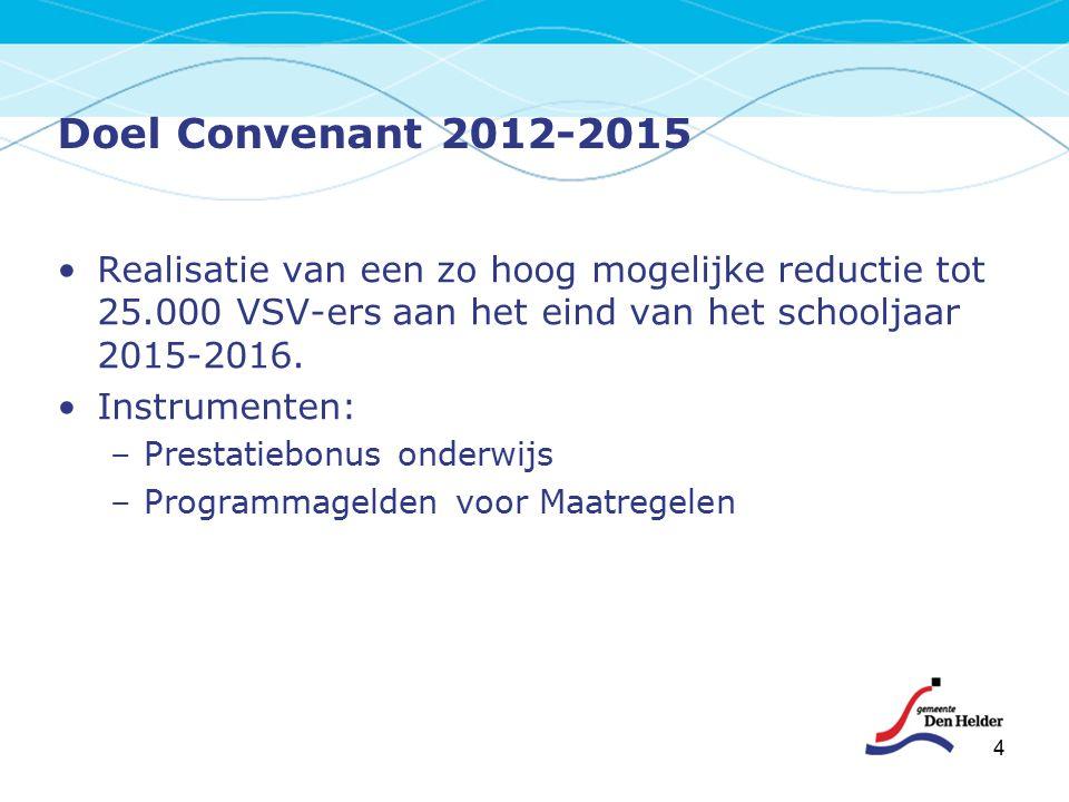 4 Doel Convenant 2012-2015 Realisatie van een zo hoog mogelijke reductie tot 25.000 VSV-ers aan het eind van het schooljaar 2015-2016. Instrumenten: –