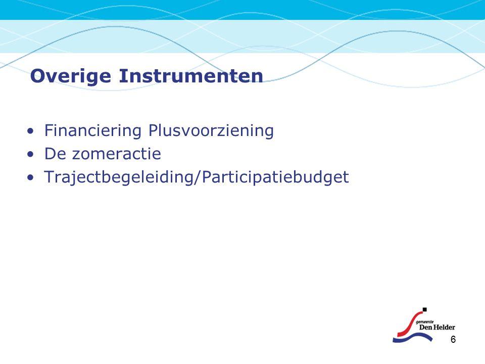 6 Overige Instrumenten Financiering Plusvoorziening De zomeractie Trajectbegeleiding/Participatiebudget