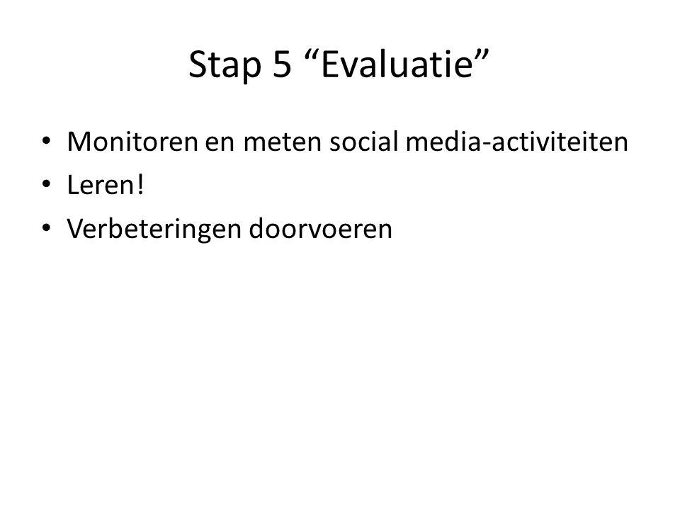 Stap 5 Evaluatie Monitoren en meten social media-activiteiten Leren! Verbeteringen doorvoeren