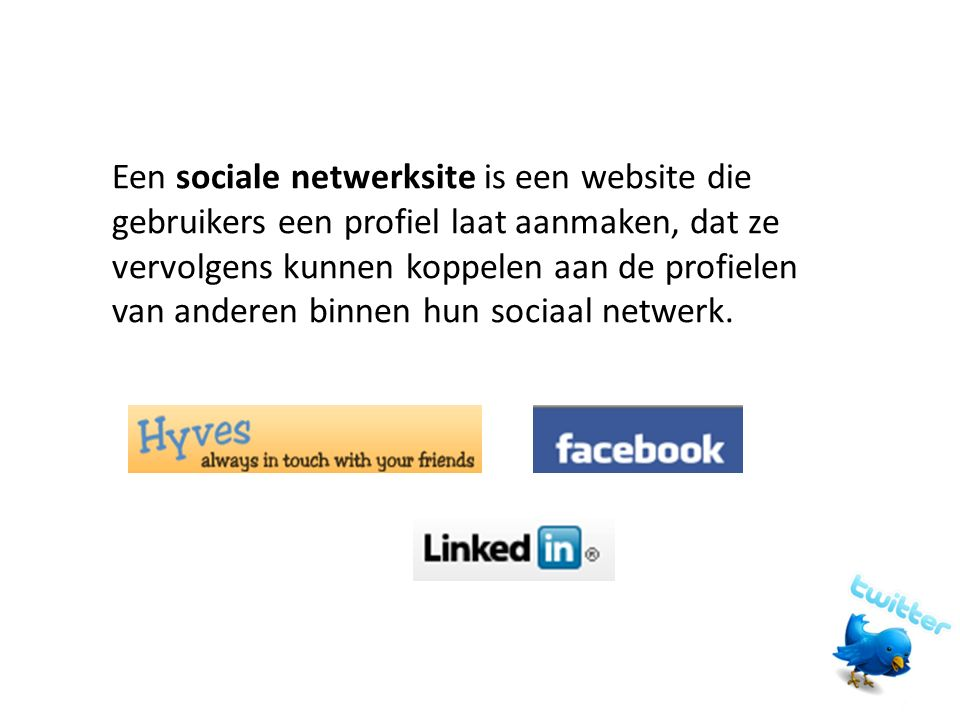 Een sociale netwerksite is een website die gebruikers een profiel laat aanmaken, dat ze vervolgens kunnen koppelen aan de profielen van anderen binnen