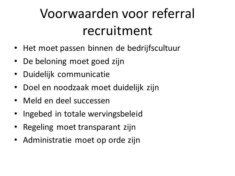 Voorwaarden voor referral recruitment Het moet passen binnen de bedrijfscultuur De beloning moet goed zijn Duidelijk communicatie Doel en noodzaak moe