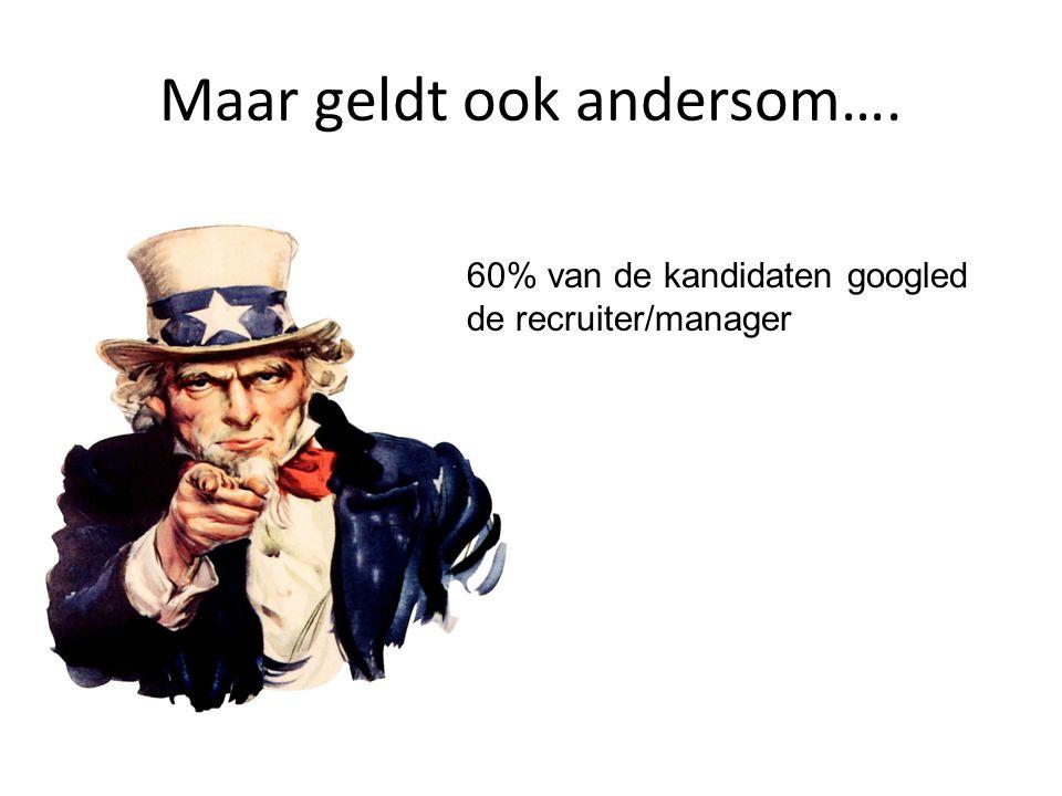 Maar geldt ook andersom…. 60% van de kandidaten googled de recruiter/manager