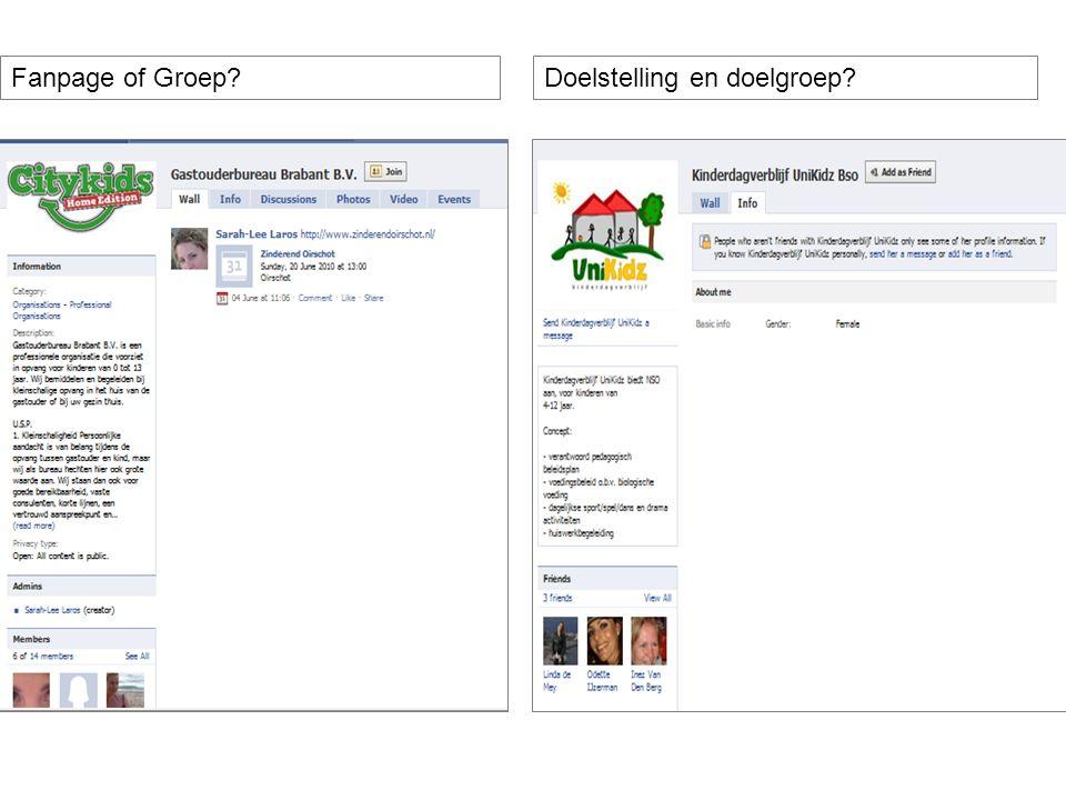 Fanpage of Groep?Doelstelling en doelgroep?